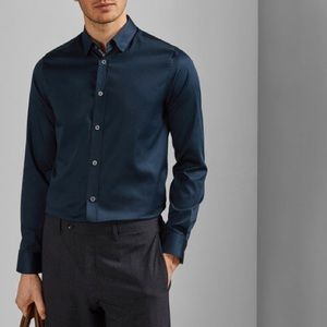 Ted Baker satin effect cotton stretch shirt - Navy